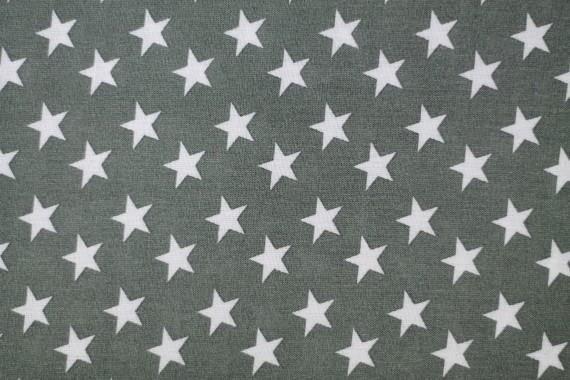 Tissu Viscose Imprimée Étoile Gris/Blanc -Au Mètre