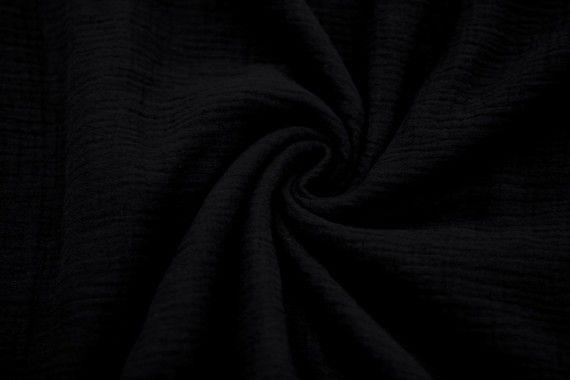 Tissu Double Gaze Noir -Au Mètre