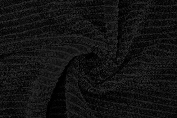 Tissu Maille Tricot Chenille Noir -Au Mètre
