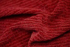 Tissu Maille Tricot Chenille Rouge -Au Mètre