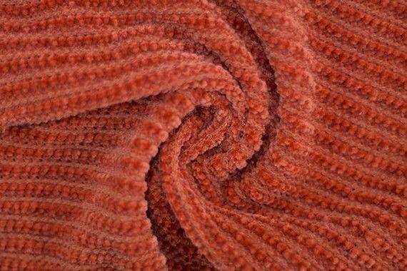 Tissu Maille Tricot Chenille Brique -Au Mètre