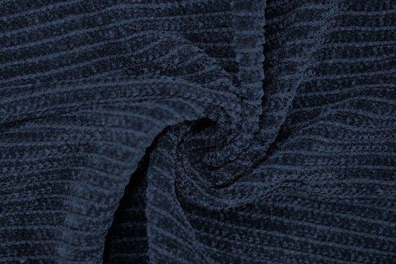 Tissu Maille Tricot Chenille Marine -Coupon de 3 mètres