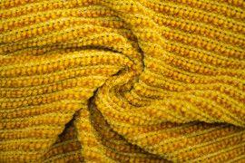 Tissu Maille Tricot Chenille Safran -Coupon de 3 mètres