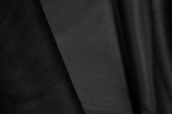 Tissu Simili Cuir envers Suédine Noir -Au Mètre