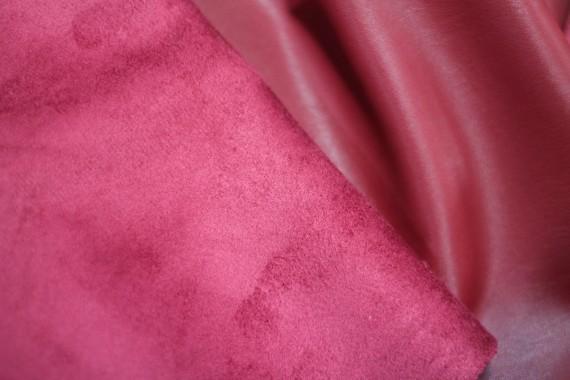 Tissu Simili Cuir envers Suédine Rouge -Coupon de 3 mètres