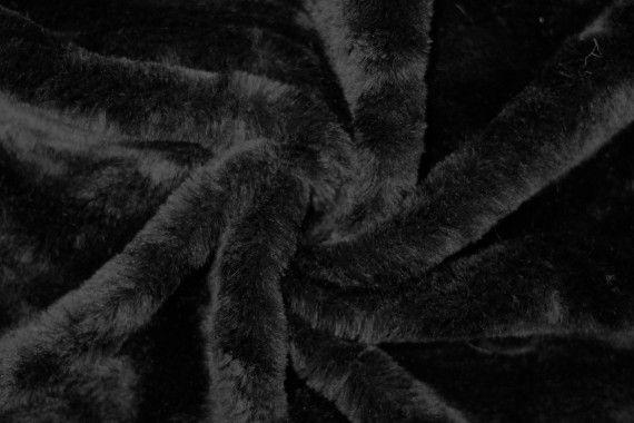 Tissu Fausse Fourrure Noir -Au Mètre