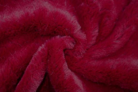 Tissu Fausse Fourrure Rouge -Coupon de 3 mètres