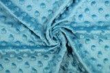 Tissu Polaire Minky Pois Turquoise -Coupon de 3 mètres