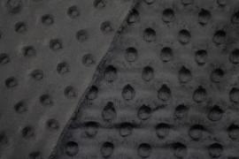 Tissu Polaire Minky Pois Noir -Coupon de 3 mètres