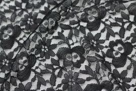 Tissu Dentelle Kym Noire -Coupon de 3 mètres